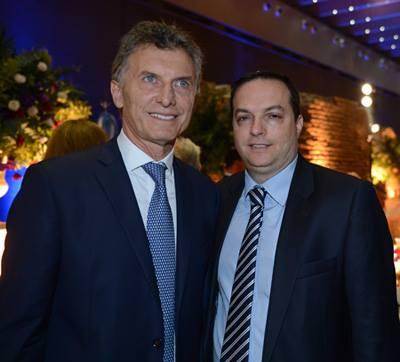 El Presidente Macri y Ariel Cohen Sabban, antes del huracán Esmeralda.